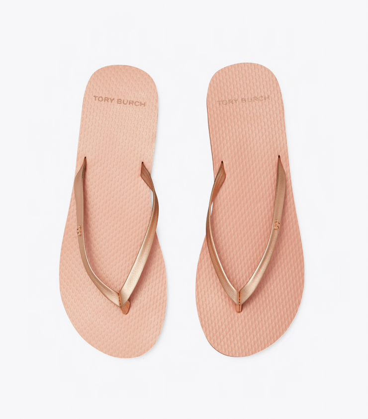 TORY BURCH METALLIC LEATHER FLIP-FLOPS - ROSE GOLD