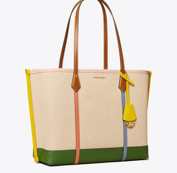 TORY BURCH PERRY CANVAS TRIPLE-COMPARTMENT TOTE