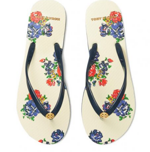 TORY BURCH PRINTED THIN FLIP-FLOP - Tory Navy / Tea Rose