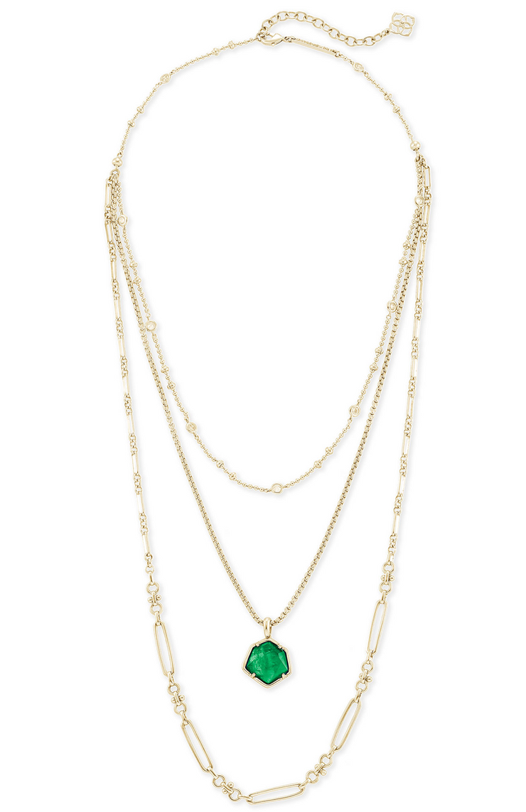 Kendra Scott Vanessa Gold Multi Strand Necklace In Jade Green Illusion