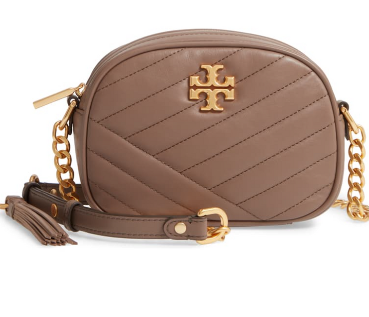 TORY BURCH KIRA CHEVRON SMALL CAMERA BAG- TAUPE