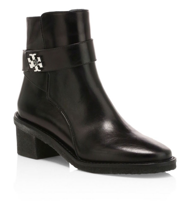 Tory Burch Kira Leather Ankle Boots - Black