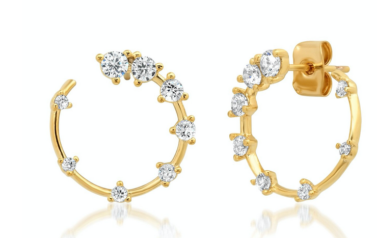 Tai GOLD FRONT FACING HOOPS WITH SCATTERED CZ ACCENTS