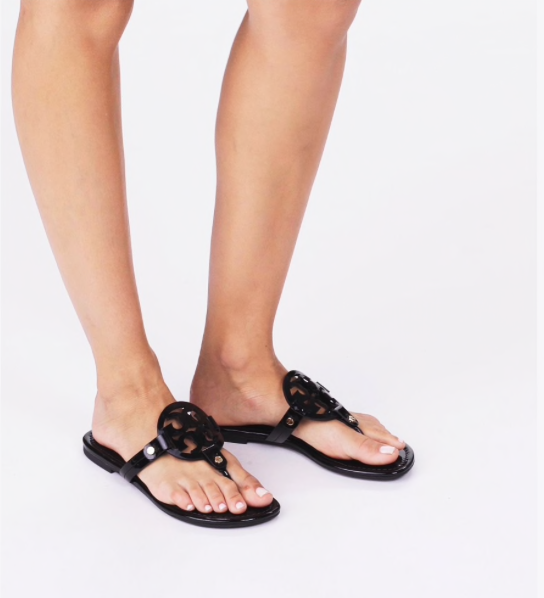 Tory Burch Patent Leather Miller Sandal- Black