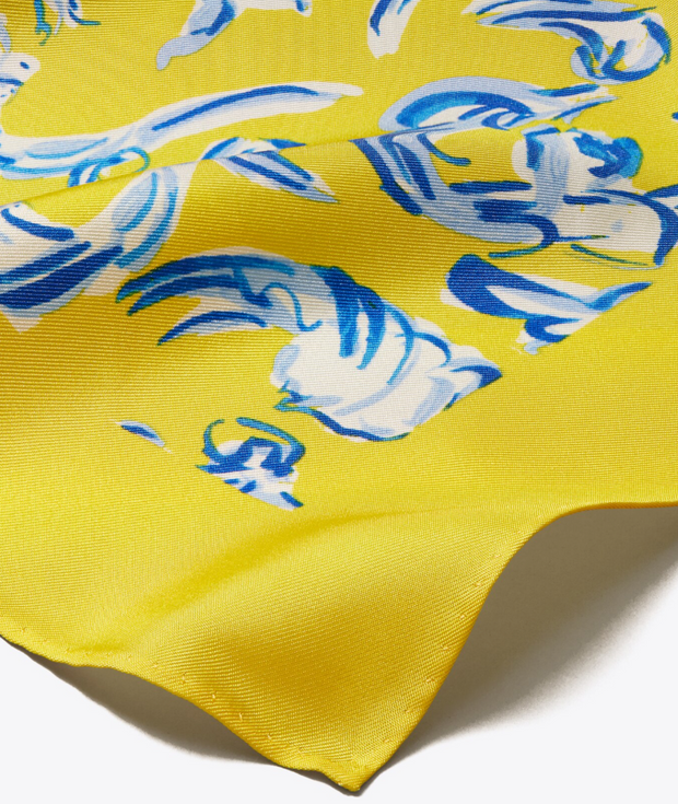 Tory Burch Yellow Swirl Logo Oversized Silk Scarf