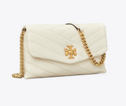 TB Kira Chevron Chain Wallet - New Ivory