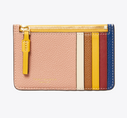 Tory Burch Perry Color Block Top-Zip Card Case - Pink Moon/Moose
