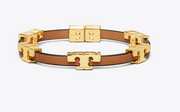 Tory Burch SERIF-T STACKABLE BRACELET- Tory Gold/Coconut/Vachetta