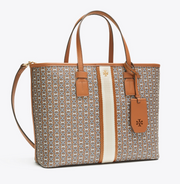 Tory Burch Gemini Link Canvas Small Tote- Light Umber