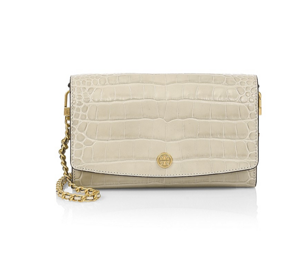 Tory Burch Robinson Embossed Chain Wallet - Jamaica Sand