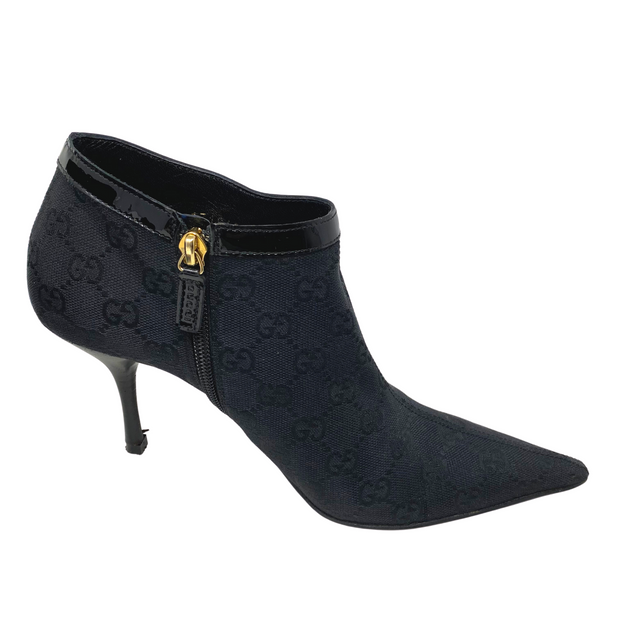 Gucci Black GG Canvas Pointed Toe Ankle Booties