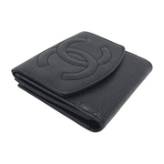 Chanel Timeless Black Caviar Compact Wallet