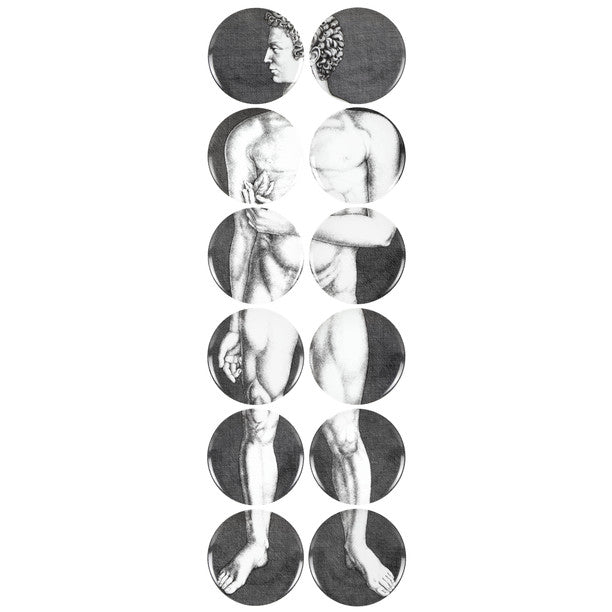Fornasetti | Set 12 Adamo Wall Plates (Black and White)