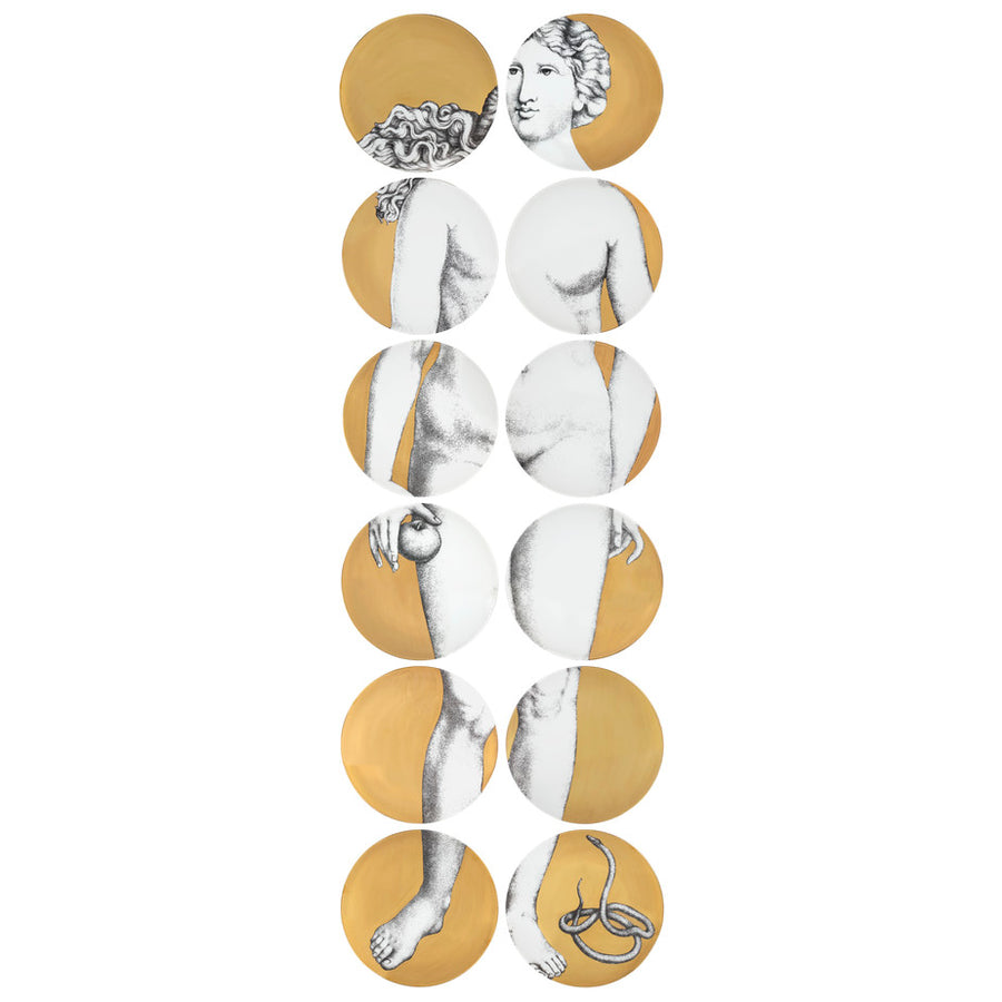 Fornasetti | Set 12 Eva Wall Plate (Gold)