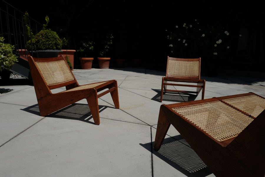 Pierre Jeanneret Kangourou ''Teak Banquette'' and Chairs