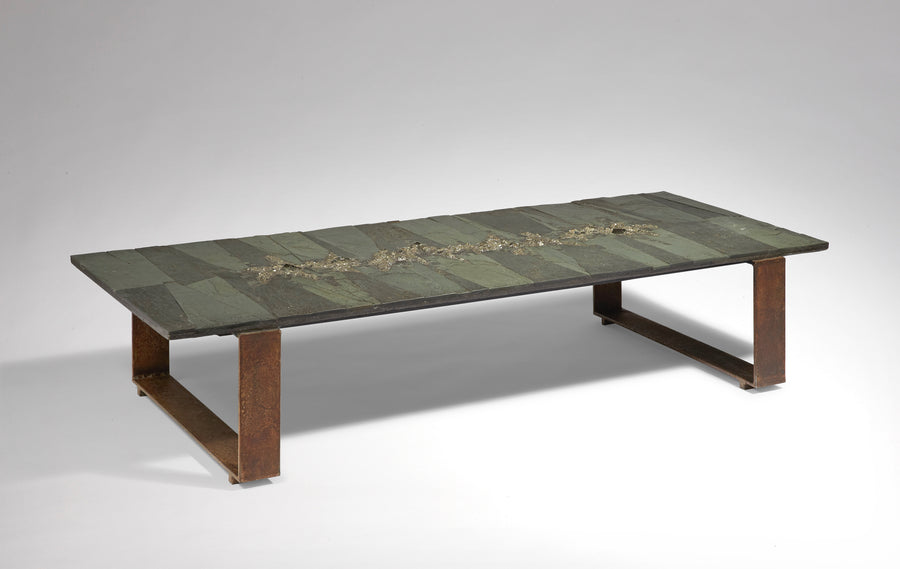 Pia Manu |  Pyrite and Slate Low Table (ca. 1970s)