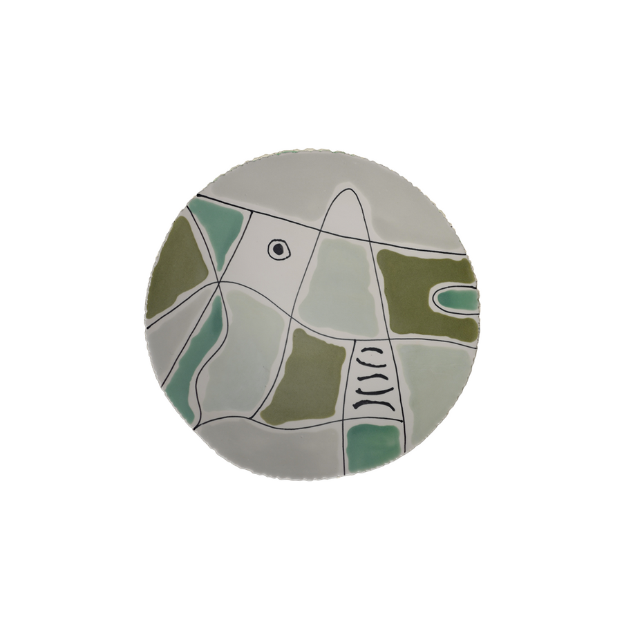 Agnes Sandahl | Abstract Charger Plate in Light Green (Multi)