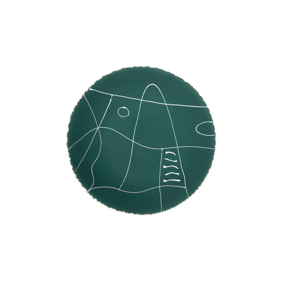 Agnes Sandahl | Abstract Charger Plate in Dark Green (Mono)