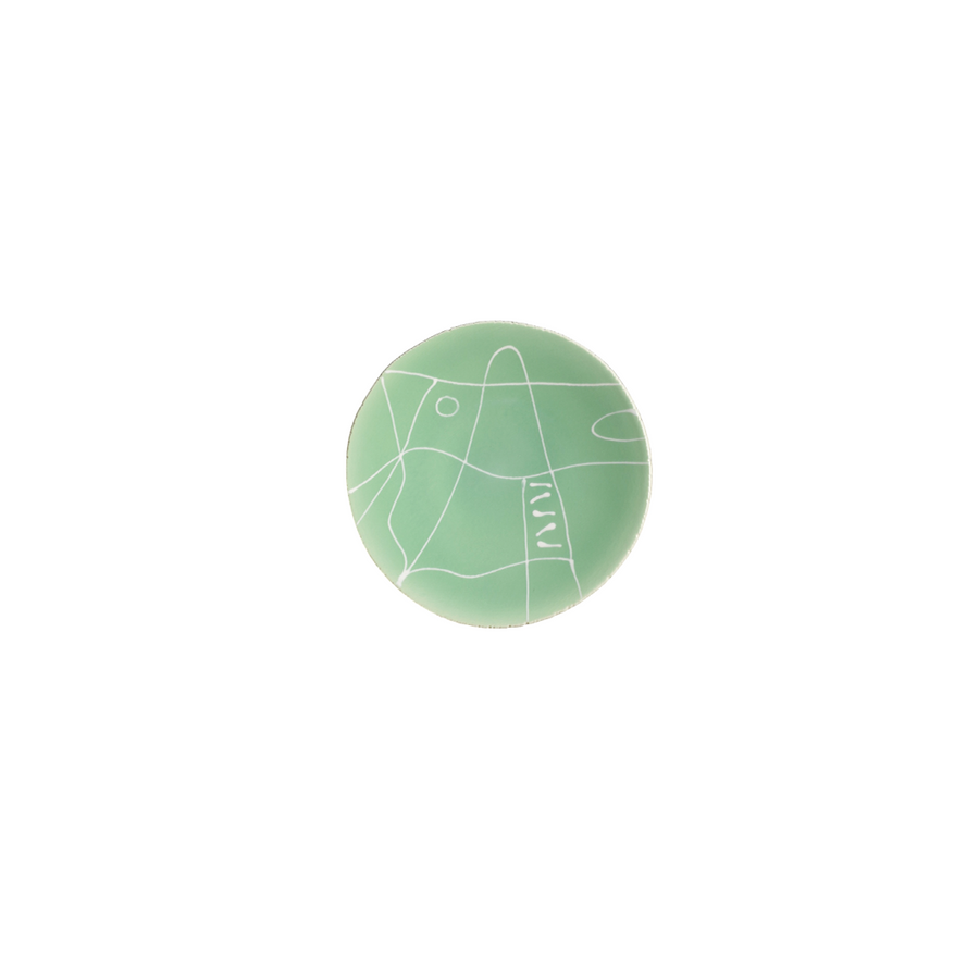 Agnes Sandahl | Abstract Bread Plate in Light Green (Multi)
