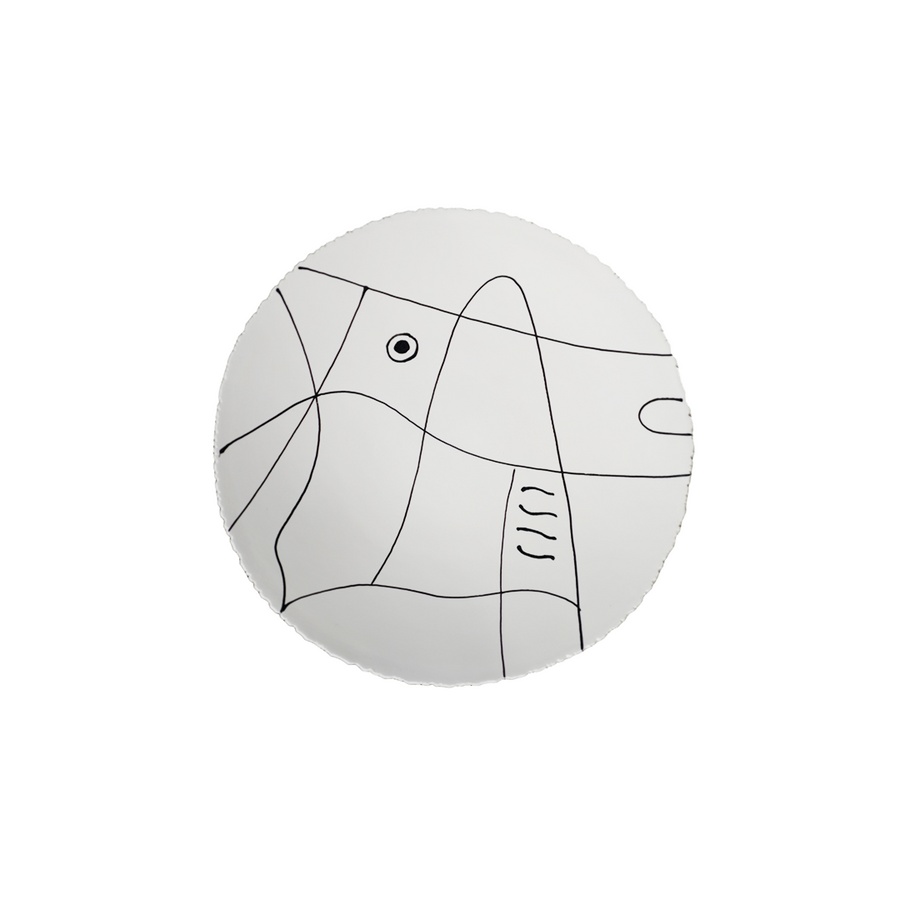 Agnes Sandahl | Abstract Charger Plate in White (Mono)