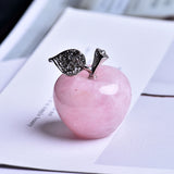 Natural rose quartz apple