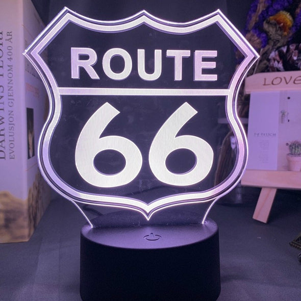 Lampe LED 3D Route 66 - Motard Passion