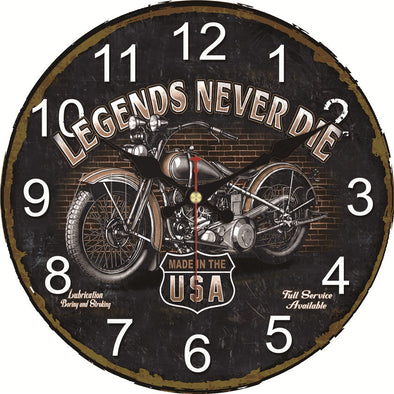 "Horloge Murale ""Legends Never Die"" - Motard Passion"