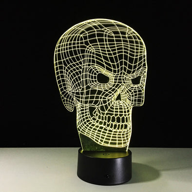Lampe LED 3D Tête De Mort  Motard Passion