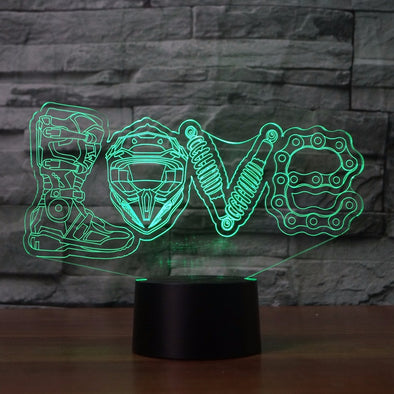 Lampe LED 3D LOVE Moto Cross - Motard Passion