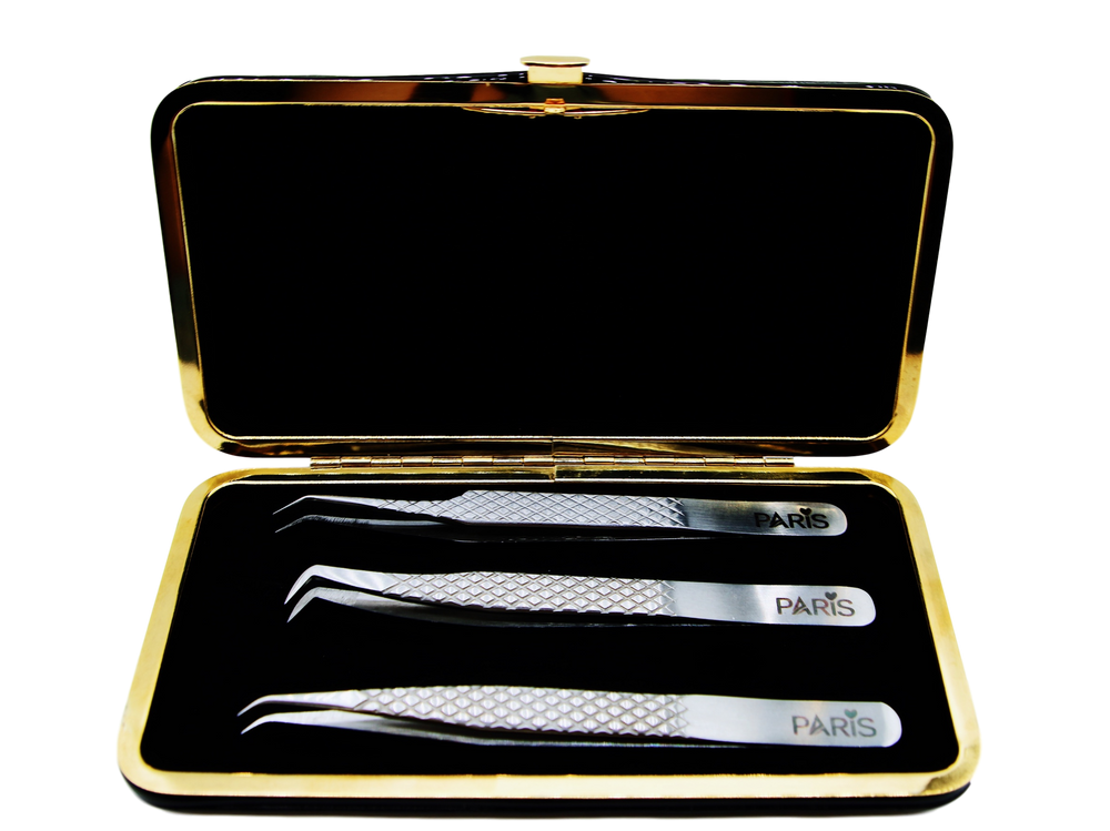 Magnetic Case with Diamond cut Professional Tweezers Set