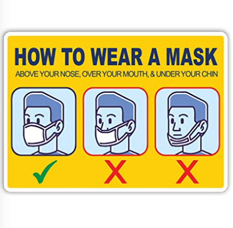 "Social Health Awareness Sign ""How to Wear a Mask"" - Pack of 5"