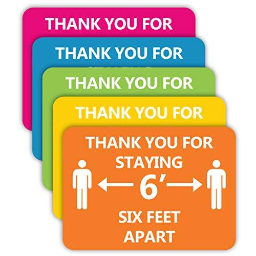 "Social Health Awareness Sign ""6 Feet Apart"" - Pack of 5"