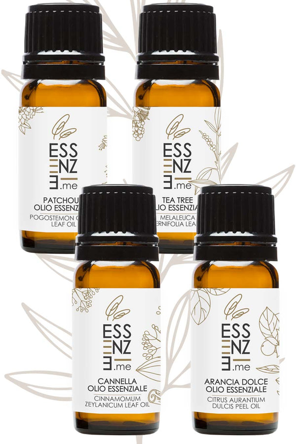 Kit Oli Essenziali Arancia Dolce, Cannella, Tea Tree Oil, Patchouli Puri Naturali | Essenze.me