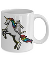 Cat Riding Unicorn Mug