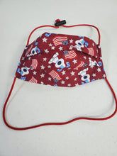 Load image into Gallery viewer, Professionally Hand-Made in USA Cotton Face Masks - Patriotic Puppies