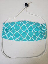 Load image into Gallery viewer, Professionally Hand-Made in USA Cotton Face Mask - Teal Print