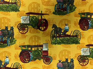 Professionally Hand-Made in USA Cotton Face Mask - Vintage Tractor Print