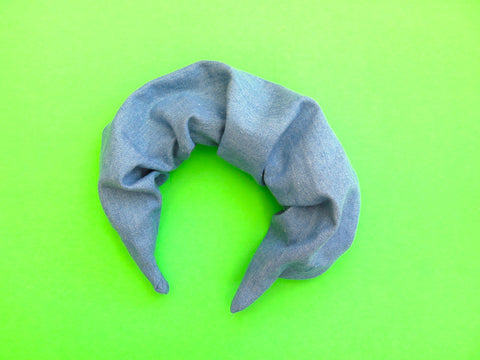 Ruffle Hair band hand sewn in lightweight denim