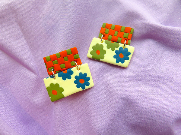 Baked by Lou polymer clay earrings, florals and checkerboard in autumnal colours