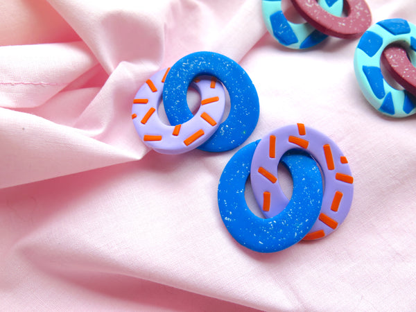 Baked by Lou polymer clay abstract link stud, limited edition, lilac and blue