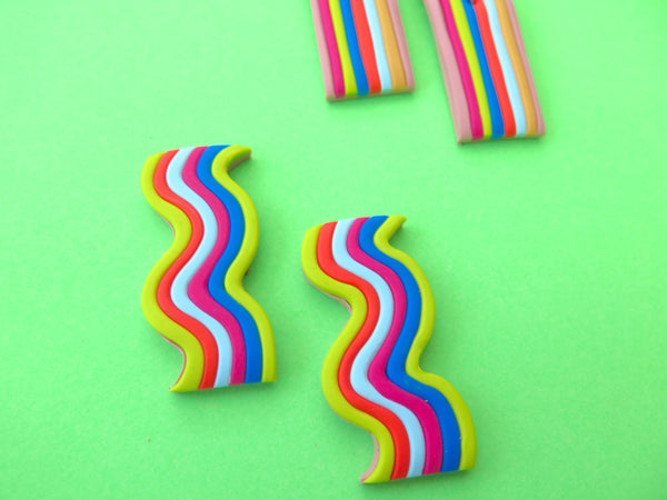 Baked by Lou polymer clay stripy earrings, limited edition, multicoloured