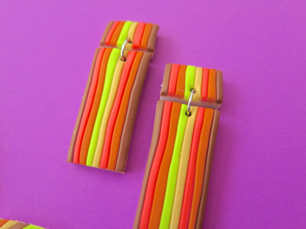 Baked by Lou polymer clay stripy earrings, limited edition, retro colours