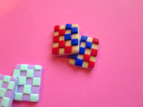 Baked by Lou polymer clay statement studs, limited edition checkerboards