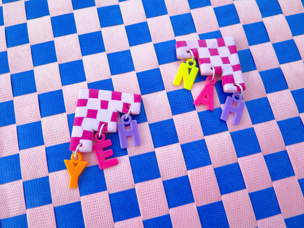 Baked by Lou polymer clay checkerboard earrings, limited edition