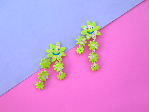 Baked by Lou polymer clay flower statement earrings, limited edition