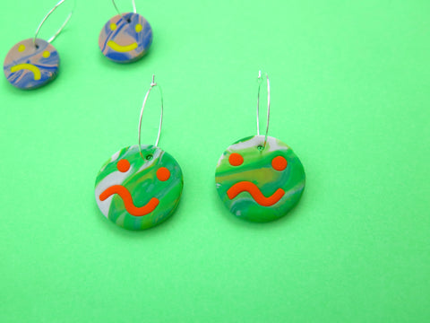 Baked by Lou polymer smiley face worried face statement hoop earrings, limited edition marbles