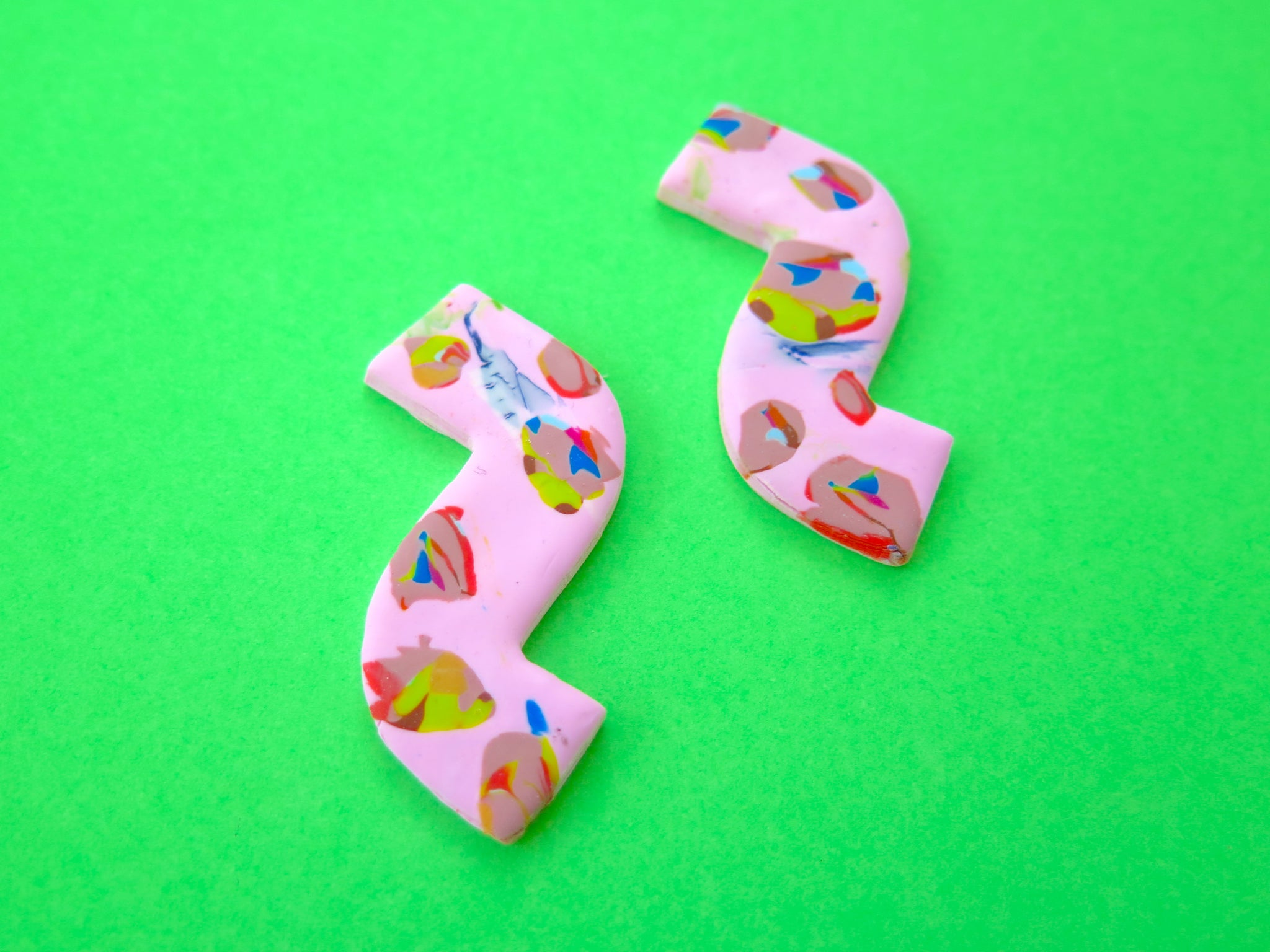 Baked by Lou polymer clay abstract statement stud earrings, limited edition