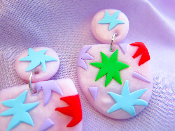 Baked by Lou polymer seeing stars, pink shimmer dangle earrings