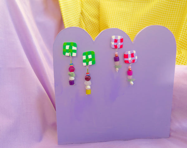 Baked by Lou polymer clay checkerboard studs with pearls and beads