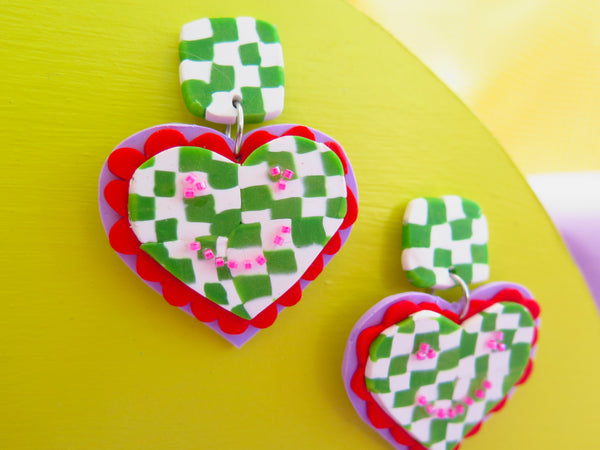 Baked by Lou polymer clay large dangles, queen of hearts and checkerboards